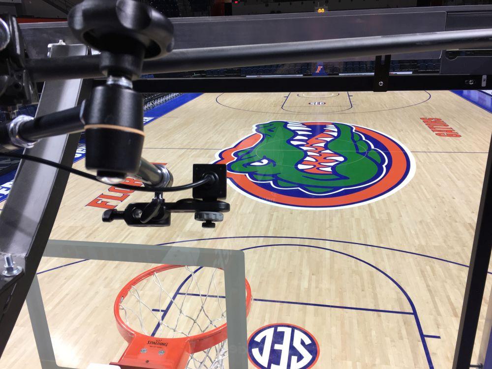 "A Marshall CV502-WPMB used as a ""slamcam"" at University of Florida basketball game."