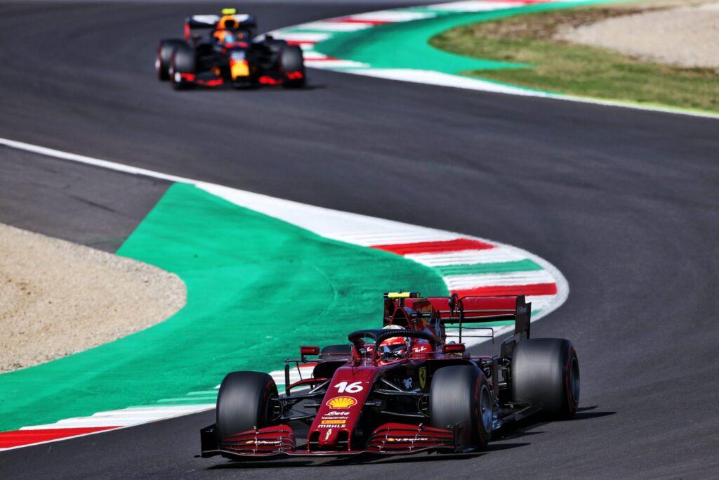 Formula 1 Racing Action at Ferrari's Italian Mugello Circuit