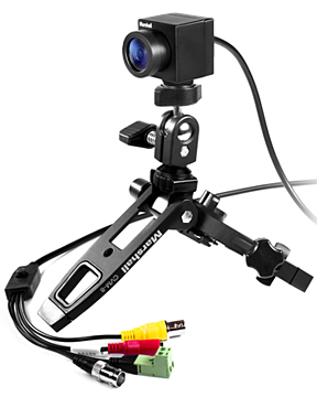 IP67 rated weatherproof mini camera on heavy duty Marshall stand
