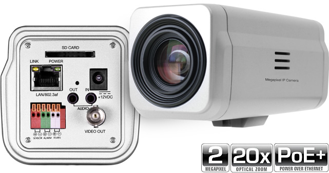 2.0MP 20X Zoom IP Box Camera with CVBS output