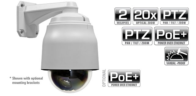 2.0 MP 20x Vandal Proof IP Speed Dome with HD-SDI