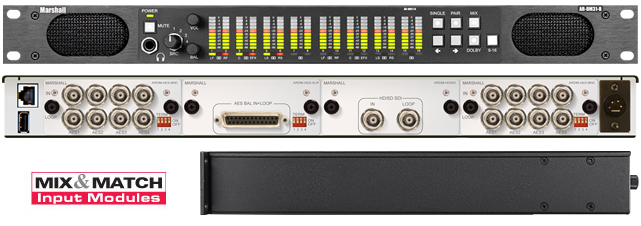 16 Channel Digital Audio Monitor, 1RU Mainframe with Tri-Color LED Bar Graphs