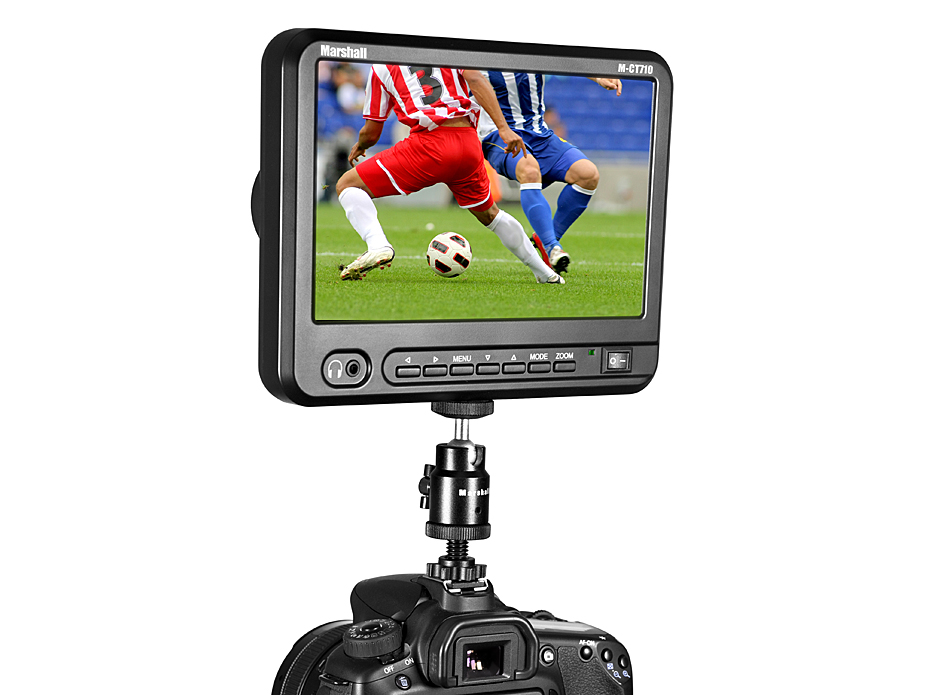 Marshall Electronics M-CT710 7 TFT LCD Portable Camera-Top Monitor with AA Battery Plate 700:1 Contrast Ratio 1024x600 250cd//m2 Brightness
