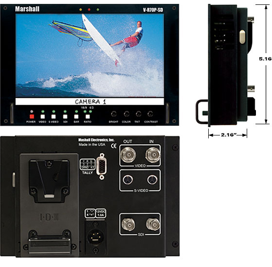 1.2 TFT-Megapixel Stand alone / Video Assist Monitor with Analog/Digital SD Inputs
