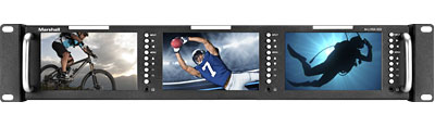 Triple 5 inch Rackmountable broadcast lcd monitor with HDMI, 3G-SDI, Composite Inputs