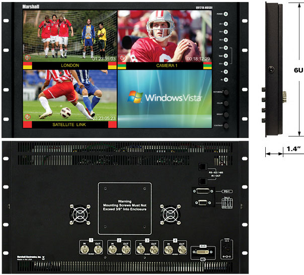 Rack Mount or Desktop Quad Viewer Monitor with IMD