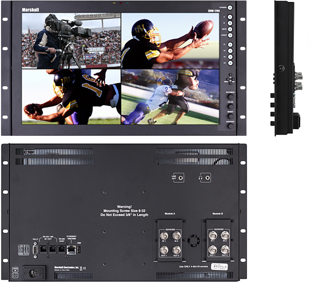 17-inch Full Resolution Rack-mountable Desktop Monitor with Quad Input, 2K/4K compatibility and advanced IMD features