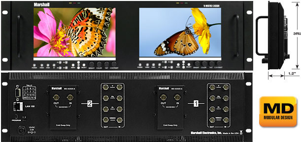 Dual 7inch 3RU High Resolution LCD Rack Mount Monitor with 3G-SDI Inputs and Loop-Through