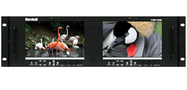 Dual 7inch 3RU High Resolution LCD Rack Mount Monitor with Modular 3G-SDI Input/Output