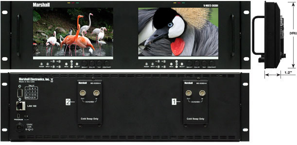 Dual LCD Rack Mount Monitor with 3G-SDI Modules and Loop-Through