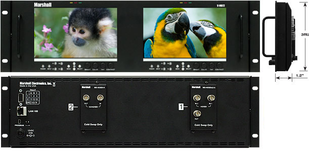 Dual 7inch 3RU High Resolution LCD Rack