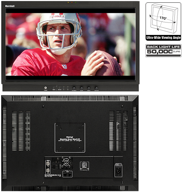 Broadcast LCD monitor with HD-SDI/SDI input and In-Monitor Display features