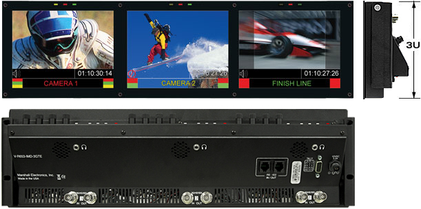 V-R653-IMD-3GTE Rack Mounted Monitor Set with HD-SDI, 3G/HD/SDI inputs and In-Monitor Display features