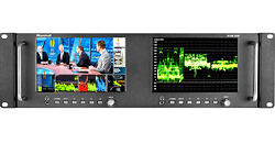 Dual 7-inch broadcast monitor with HDMI, 3G-SDI, Component and Composite Inputs with Waveform and Vectorscope
